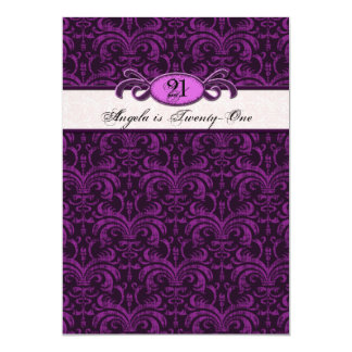 21st Birthday for a Gothic Girl, Fuschia Damask Personalized Invites
