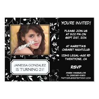 21st Birthday for Young Lady BW Floral with Photo 13 Cm X 18 Cm Invitation Card