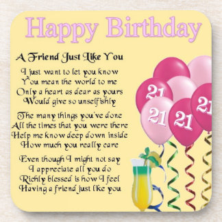 21st birthday - friend poem coaster