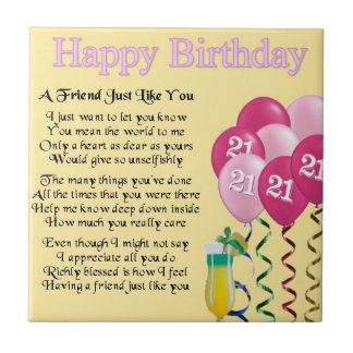 21st Birthday - Friend Poem Tile