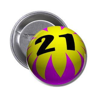 21st Birthday Gifts, Beach Ball 21! 6 Cm Round Badge