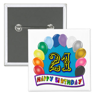 21st Birthday Gifts with Assorted Balloons Design 15 Cm Square Badge