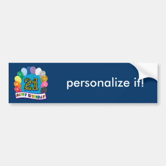 21st Birthday Gifts with Assorted Balloons Design Car Bumper Sticker