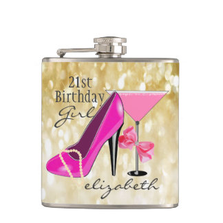 21st Birthday Girl Gold Glitter Girly Chic Hip Flask