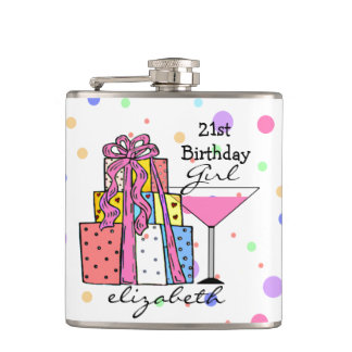 21st Birthday Girl- Hip Flask