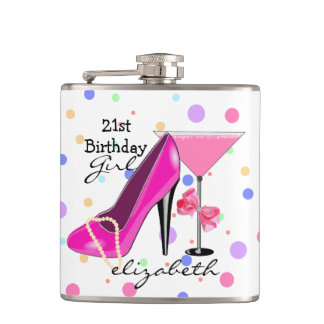 21st Birthday Girl Pink High Heel Personalized Hip Flask