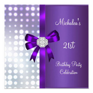 21st Birthday Glitter Purple Diamond Bow 13 Cm X 13 Cm Square Invitation Card