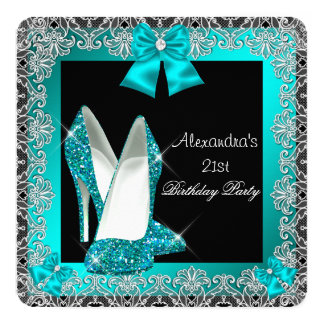 21st Birthday Glitter Teal Blue High Heel Shoe 2 13 Cm X 13 Cm Square Invitation Card