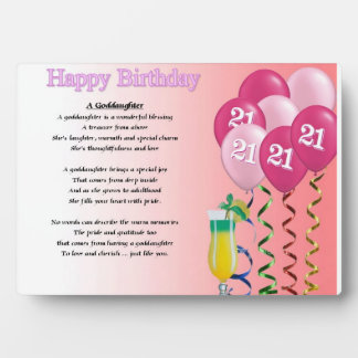 21st Birthday Goddaughter Poem Plaque