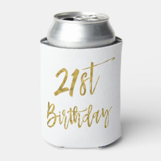21st Birthday Gold Foil Birthday Can Cooler