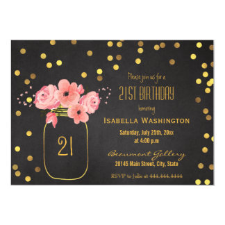 21st Birthday | Gold Mason Jar Confetti Chalkboard Card