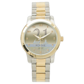 21st Birthday | Gold Silver Number 21 Wristwatch