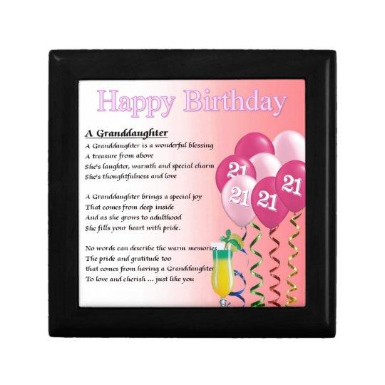 21st Birthday Granddaughter Poem Gift Box