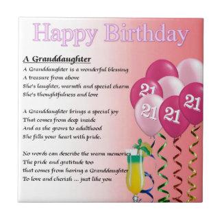 21st Birthday Granddaughter Poem Small Square Tile
