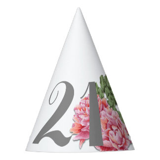 21st Birthday Hat, Hand Painted Peony Party Hat