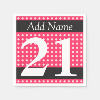 21st Birthday Hot Pink Personalized Polka Dots Disposable Napkins