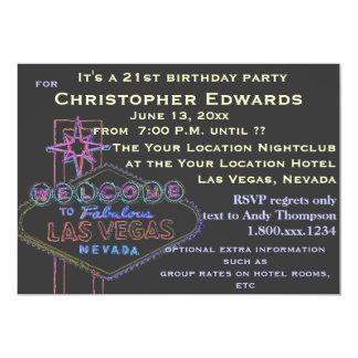 "21st Birthday in Las Vegas for Male 5"" X 7"" Invitation Card"