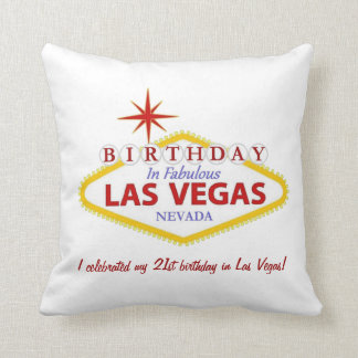 21st birthday in Las Vegas Pillow PERSONALIZED
