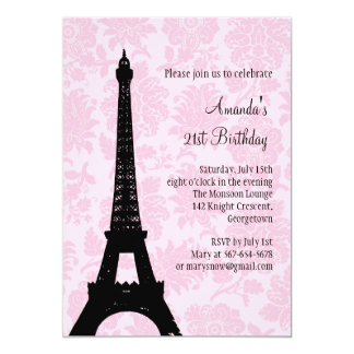 21st Birthday in Paris 13 Cm X 18 Cm Invitation Card