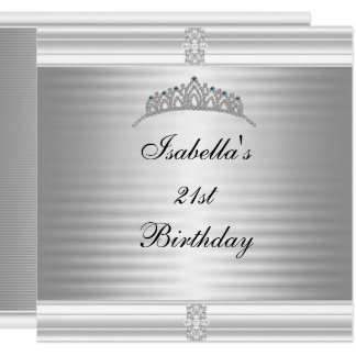 21st Birthday Jewel Tiara Silver & White Card