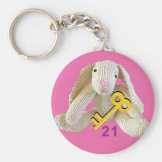 21st birthday  keyring present cute rabbit bunny basic round button key ring