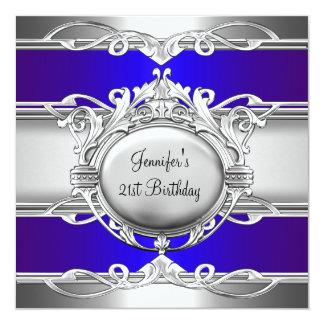 21st Birthday Metal Chrome Blue Silver Plaque Card