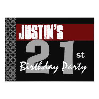 21st Birthday Modern Red Black Silver W1703 13 Cm X 18 Cm Invitation Card