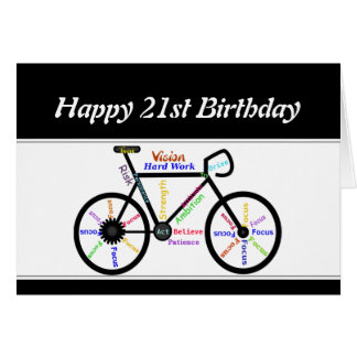 21st Birthday Motivational Bike Bicycle Cycling Card