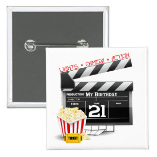 21st Birthday Movie Party 15 Cm Square Badge