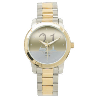 21st Birthday | Number 21 Gold Silver Metal Look Watch