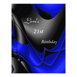 21st Birthday Party Abstract Black blue Mens Announcements