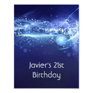 21st Birthday Party Abstract Blue Explode Modern 11 Cm X 14 Cm Invitation Card