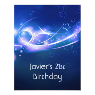 21st Birthday Party Abstract Blue Explode Modern 2 11 Cm X 14 Cm Invitation Card