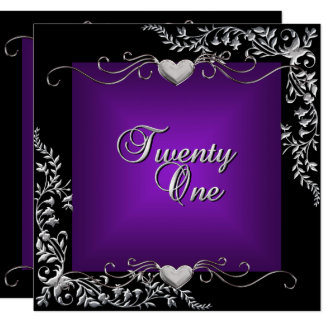 21st Birthday Party Black Bright Deep Purple Card