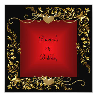 21st Birthday Party Black Bright Deep Red Gold Card