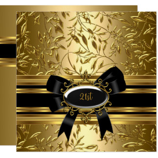 21st Birthday Party Black Gold Floral 2 13 Cm X 13 Cm Square Invitation Card