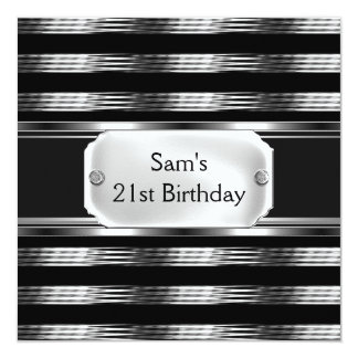 21st Birthday Party Black Metal Silver Mans Mens 13 Cm X 13 Cm Square Invitation Card