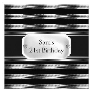 21st Birthday Party Black Metal Silver Mans Mens Custom Invitation