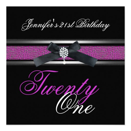 21st Birthday Party Black Purple Pink Silver Announcements