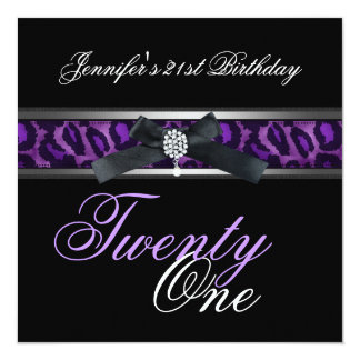 21st Birthday Party Black Purple Silver Card