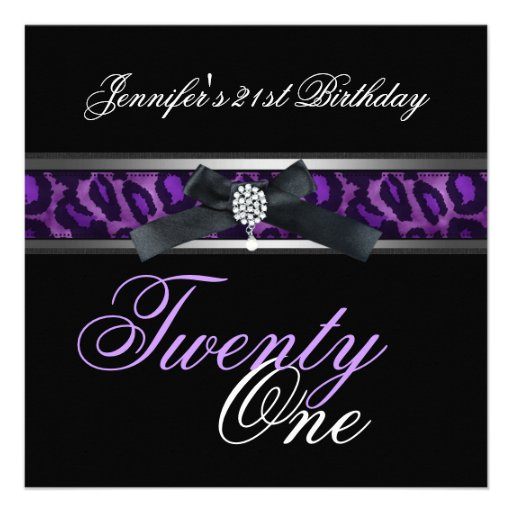 21st Birthday Party Black Purple Silver Custom Invitation