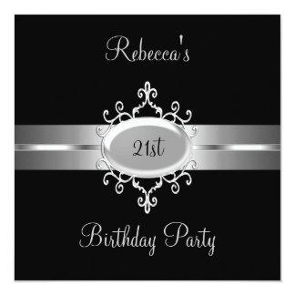 21st Birthday Party Black Silver 13 Cm X 13 Cm Square Invitation Card