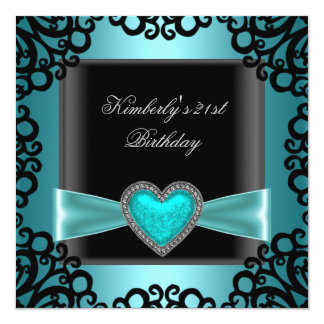 21st Birthday Party Black Silver Teal Blue Heart 13 Cm X 13 Cm Square Invitation Card