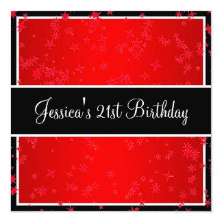 21st Birthday Party Bright Red Stars Black & White 13 Cm X 13 Cm Square Invitation Card