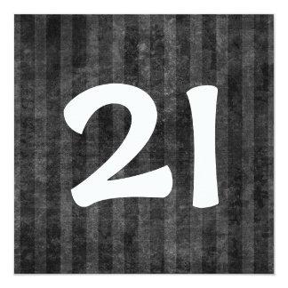 21st Birthday Party Charcoal Stripes W1078 13 Cm X 13 Cm Square Invitation Card