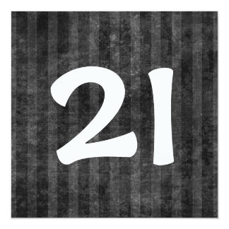 21st Birthday Party Charcoal Stripes W1078 Card