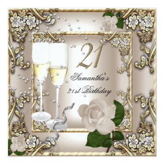 21st Birthday Party Cream Gold Rose Silver 13 Cm X 13 Cm Square Invitation Card