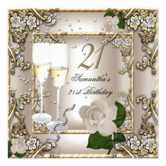 21st Birthday Party Cream Gold Rose Silver Personalized Invites