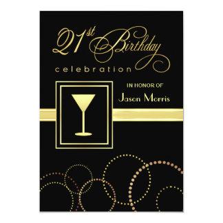 21st Birthday Party Elegant Champagne Invitations
