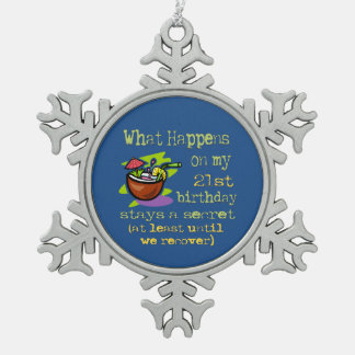 21st Birthday Party Gifts Snowflake Pewter Christmas Ornament